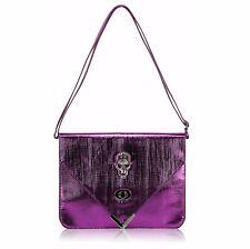 CLUTCH hand BAG 186 skull goth fau leather shoulder strap purple metallic gothic