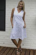 NEW Tulip Clothing Myla Dress Polka Dot B/W Sundress Lagenlook Cotton Size S-XL