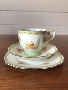 Vintage Bell China Porcelain Tea Trio Of Cup Saucer And Plate Made In England