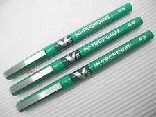 3 Green Pens Set, Pilot V5 Hi-Tecpoint 0.5mm Pure Liquid Ink Rollerball pen