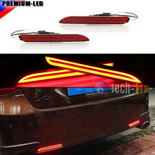 2PCS 3D Optic Red Lens LED Rear Bumper Reflector Brake Tail lights For Toyota