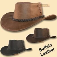 【oZtrALa】 Hat BUFFALO Leather Cowboy Black Mens Womens Kids AUSTRALIAN Outback ~