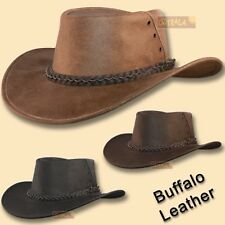 330c2f09d2d ○oZtrALa○ Hat BUFFALO Leather Cowboy Black Mens Womens Kids AUSTRALIAN  Outback ○
