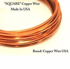 """14 Ga """"SQUARE"""" Copper Wire  Dead Soft / 9 Ft ~ 2 Oz / 99.9% Pure Solid Copper"""