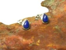 LAPIS  Sterling Silver 925 Gemstone Earrings / STUDS - 5 x 7 mm - Gift Boxed