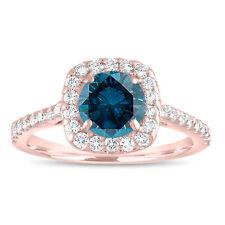 Enhanced Blue Diamond Engagement Ring Rose Gold Cushion Cut Halo Pave 1.58 Carat