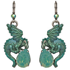 Kirks Folly Hydra Dragon's Crystal Teardrop Earrings Silvertone & Ocean Aqua
