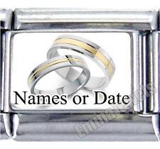 Wedding Rings Anniversary Custom Dates or Names 9mm Italian Photo Charm