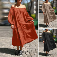 Womens Long Sleeve Off Shoulder Casual Loose Tiered Kaftan Maxi Dress Plus Size