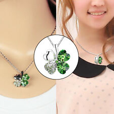 St. Patrick's Day Lucky Crystal Four Leaf Clover Green Pendant Necklace Hea I2W6