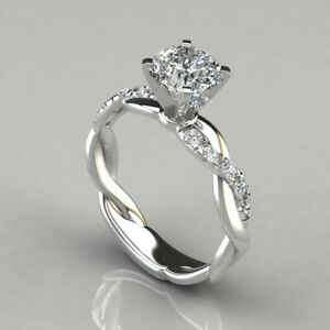 925 Sterling Silver plated Diamond Engagement Ring Bling Women Beautiful Gift