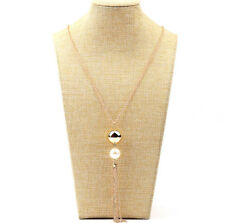 Fashion Women's Lady Pearls Long Chain Charms Sweater Tassel Gold Necklace