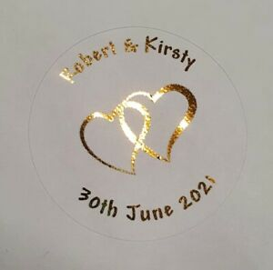 Round Personalised Wedding Heart Stickers / Labels Favours Seals Foil Foiled