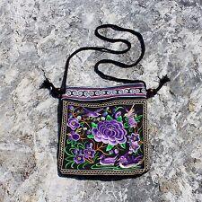 Handmade Thai Tribal Hippie Boho Ethnic Hmong Embroidered Zip Shoulder Bag Purse