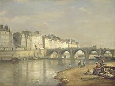 LAPINE FRENCH PONT TOURNELLE PARIS OLD ART PAINTING POSTER BB6383A