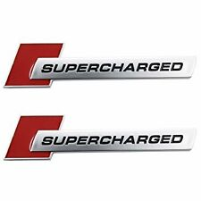 2X Supercharged For Audi Badge Emblem Metal Chrome Car Sticker A3 A4 RED CP79