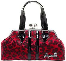 Sourpuss Red Leopard Temptress Purse NEW Punk Rock Pin Up Faux Fur Vinyl