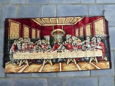 "The Last Supper Jesus Tapestry Wall Hanging Rug 20"" x 39"" - Estate Find!"