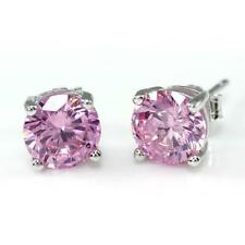 1.00 Carat Round Diamond Pink Sapphire Stone Stud Earrings 18K White Gold Over