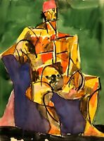 RALPH DUBIN 1919-1988 CUBIST MODERNIST SEATED PORTRAIT PAINTING NEW YORK CITY