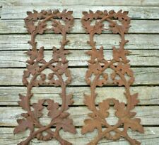 (2) Cast Iron Architectural Salvage Ornate Rusty Garden Panels Acorn & Leaves