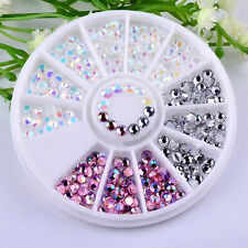 3D Round AB Rhinestone Crystal Glitter Bead Pearl Wheel Nail Art Tips Decoration