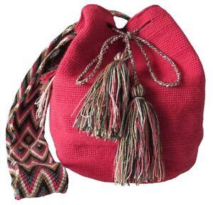 OOAK Traditional and OriginalWayúu MOCHILA Bag Pink in a Large Size Cross Body