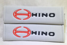 NEW Embroidery Grey Seat Belt Cover Shoulder Pad Pair Hino Logo ~ L@@K!!