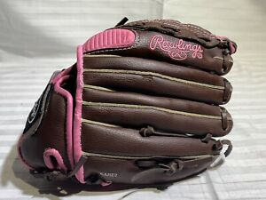 Rawlings Fastpitch Leather Softball Glove-RH Thrower-Brown & Pink(FP110PMC)