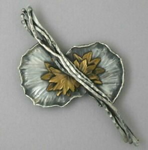 Margaret Ellis Sterling Silver Lilly Pad Pin GREAT DETAILS
