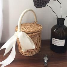 100% Handmade Wicker Bag Handbag Lady Straw Basket Woven Bag With Lid Bamboo Bag