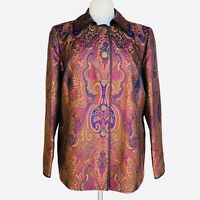LINDA ALLARD ELLEN TRACY Size 14 Paisley Brown Silk Buttons Front Jacket