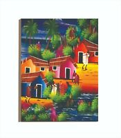 RARE Original Dominican Republic Art Tropical Beach Painting SIGNED R Balún 2021