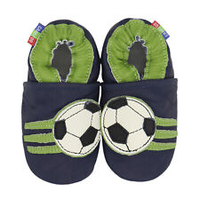 carozoo soccer dark blue 7-8y soft sole leather kids shoes