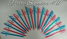 20pk Pink & Blue Sword Party Picks. Cocktail sticks/plastic/pirate/baby/shower