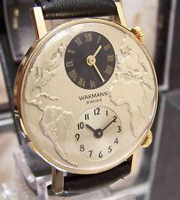 VINTAGE SUPER RARE 60'S WAKMANN SWISS DUAL / TWIN WORLD TIME ZONE WATCH MINTY !