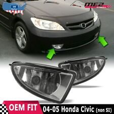 For Honda Civic 04-05 Factory Replacement Fit Fog Lights Wiring Kit Clear Lens