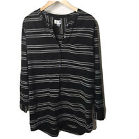 Old Navy Tunic Top XL Striped Black Gray Long Sleeve Beach Cover Lightweight