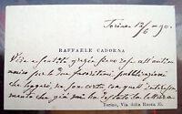 1890 140) AUTOGRAFO GENERALE RAFFAELE CADORNA ACCIACCHI DOPO LA GUERRA IN CRIMEA