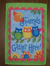 """""""Friends Gather Here"""" Colorful, Happy Owls decorative House Flag 28""""x40"""""""