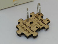 Personalised Jigsaw Puzzle Oak Wood Keyrings Set. Wedding, Valentines, Couples