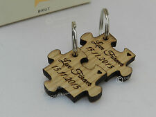 Puzzle personalizzato in rovere Portachiavi Set. Matrimonio, San Valentino, Coppie