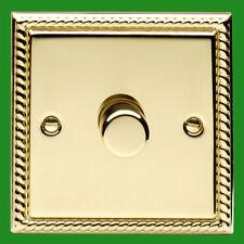 2x Georgian Brass 1 Gang 2 Way Dimmer Light Switch Lamp Knob, 40-400W, 220-240V