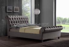 Sleigh HC Upholstered Designer Crushed Velvet/Chenille Beds Frames + Mattress FR
