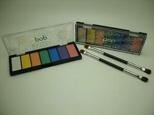 POP BEAUTY LOT OF 2 BRIGHT NEON EYES 7 COLOR EYESHADOW PALETTE WITH 2 BRUSHES