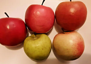 A Artificial Apples Red Fruit Faux Fake Lot 5