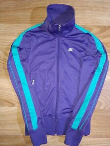 Nike Womens Tracksuit Top Jacket Sweatshirt Purple Turquoise Striped Hype