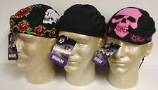 Lot Set 3 Black Pink & Rose Skulls Road Hog Sweatband Doo Rag Headwrap Cap Biker