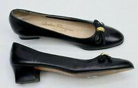 Salvatore Ferragamo Womens Slip On Heels Flats Shoes Size 7.5 AAA Black