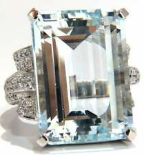 Emerald Cut Very Clear 37.75CT Aquamarine In 925 Silver With Pave 2.55CT CZ Ring